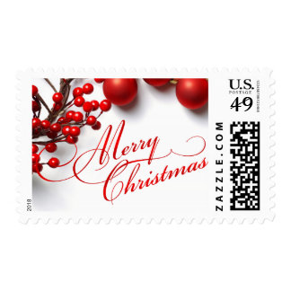 Merry Christmas Red Berries & Ornaments Postage