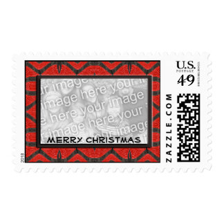 merry christmas red black photoframe postage stamps