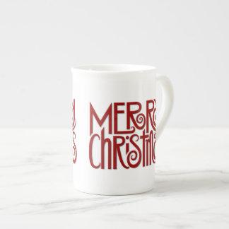 Merry Christmas red Bone China Mug