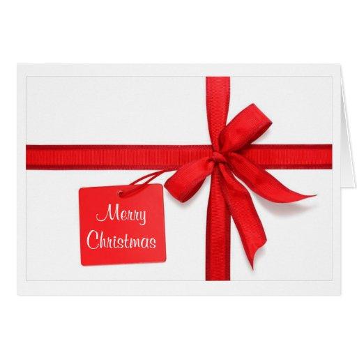 Merry Christmas Red Bow Christmas Card