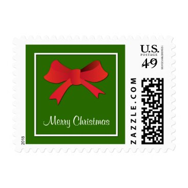 Beach Themed Merry Christmas Red Bow Postage