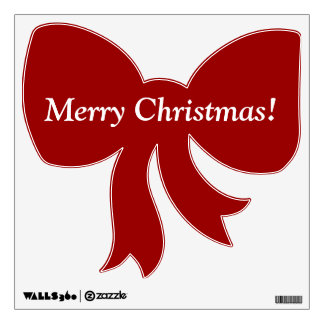 Merry Christmas Red Bow Removable Wall Decal
