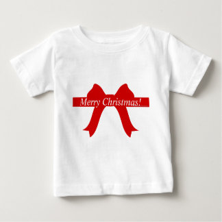 """""""Merry Christmas!"""" - Red Bow/Ribbon Baby T-Shirt"""