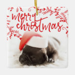 Merry Christmas Red Branches Custom Pet Photo Ceramic Ornament