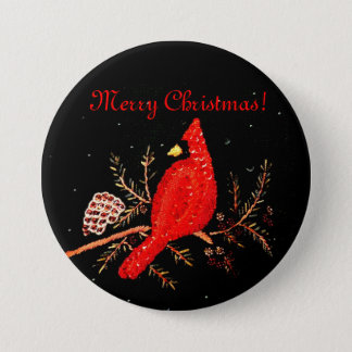 Merry Christmas Red Cardinal Bird Sequins Design Pinback Button