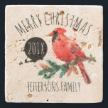 "Merry Christmas-Red Cardinal &amp; Mistletoe Stone Coaster<br><div class=""desc"">Cool trendy watercolors illustration red christmas cardinal with mistletoes and customizable text-merry christmas and the year. Red black and green.</div>"
