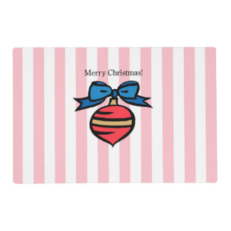 Merry Christmas Red Christmas Ornament Placemat PK