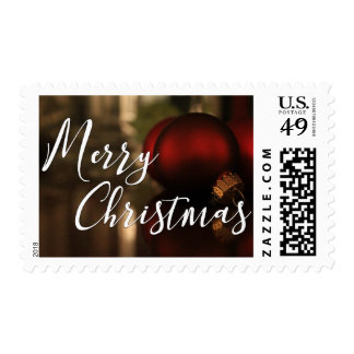Merry Christmas Red Christmas Ornaments Photo Postage