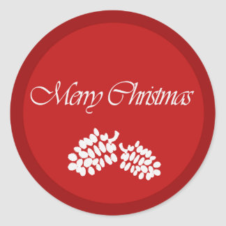 Merry Christmas red design Classic Round Sticker