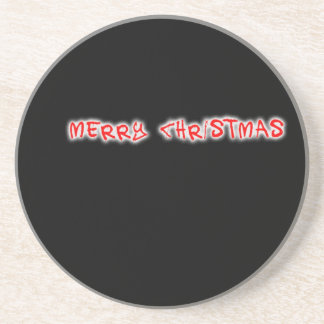 merry christmas red drink coaster