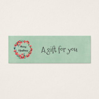 Merry Christmas Red Floral And Retro Reindeer Mini Business Card