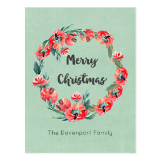 Merry Christmas Red Floral Holiday Wreath Custom Postcard