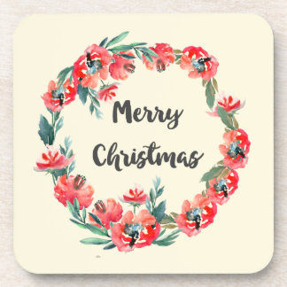 Merry Christmas Red Floral Watercolor Wreath Beverage Coaster