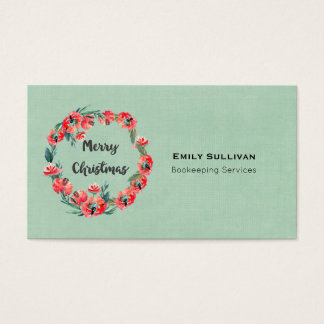 Merry Christmas Red Floral Watercolor Wreath Business Card
