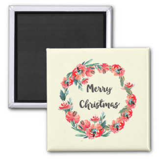 Merry Christmas Red Floral Watercolor Wreath Magnet