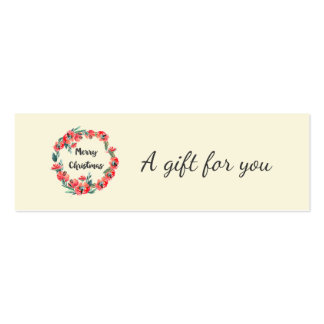Merry Christmas Red Floral Watercolor Wreath Mini Business Card
