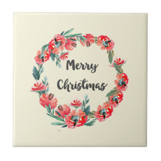 Merry Christmas Red Floral Watercolor Wreath Tile