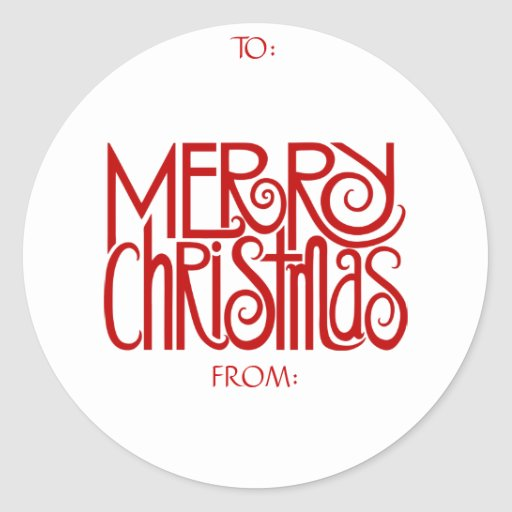 Merry Christmas Red Gift Tag Sticker
