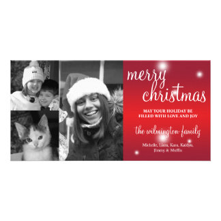 Merry Christmas red glow white snow photo greeting Photo Card