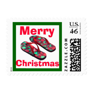 Merry Christmas red green flip flop sandals Postage Stamp