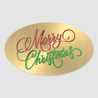 Merry Christmas Red Green Gold  Embossed Look Oval Sticker