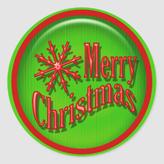 Merry Christmas red green modern Classic Round Sticker