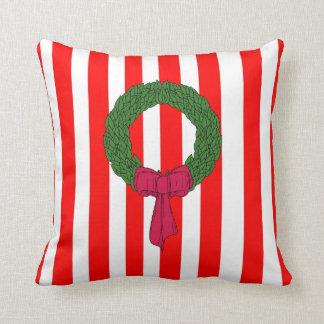 Merry Christmas red green stripe wreath cushions