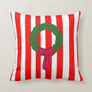 Christmas Themed Merry Christmas red green stripe wreath cushions