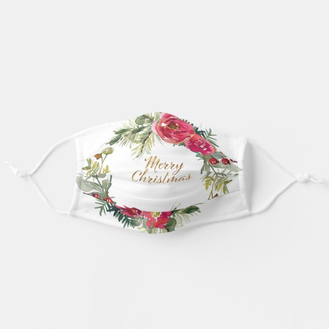 Merry Christmas Red Green Watercolor Floral Adult Cloth Face Mask
