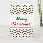 """[ Thumbnail: """"Merry Christmas!""""; Red & Green Wavy Lines Pattern Card ]"""