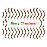 """[ Thumbnail: """"Merry Christmas!""""; Red & Green Wavy Lines Pattern Invitation ]"""