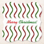 """[ Thumbnail: """"Merry Christmas!""""; Red & Green Wavy Lines Pattern Paper Coaster ]"""