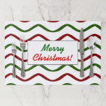 """[ Thumbnail: """"Merry Christmas!""""; Red & Green Wavy Lines Pattern Paper Placemat ]"""