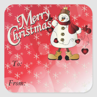 Merry Christmas Red Heart Snowman Square Sticker
