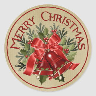 Merry Christmas Red Holiday Bells Stickers