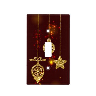 Merry Christmas Red Holiday Glitter Sparkling Light Switch Cover