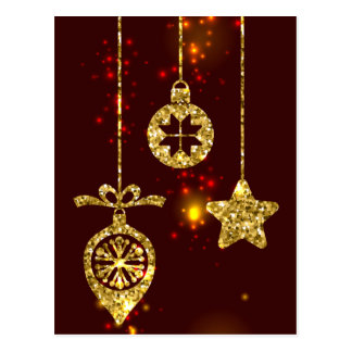 Merry Christmas Red Holiday Glitter Sparkling Postcard