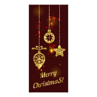Merry Christmas Red Holiday Glitter Sparkling Rack Card