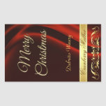 Merry Christmas Red Holiday Scroll Wine Rectangular Sticker