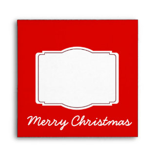 Merry Christmas Red Holiday Square Envelopes