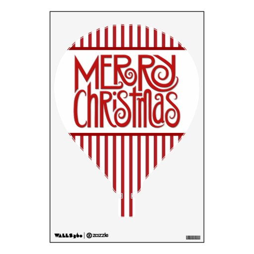 Merry Christmas red Hot Air Balloon Wall Decal