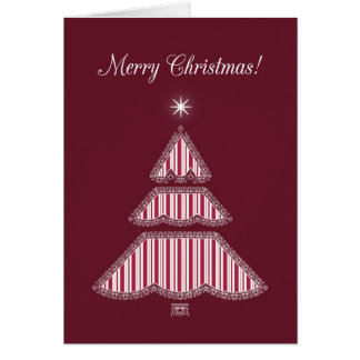 Merry Christmas Red Lace and Stripes Holiday Tree Card