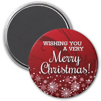 Merry Christmas (red) 3 Inch Round Magnet