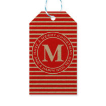 Merry Christmas Red Monogram Gift Tags