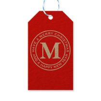 Merry Christmas Red Monogram Plain Gift Tags