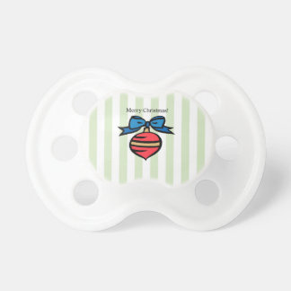 Merry Christmas Red Ornament Pacifier Green