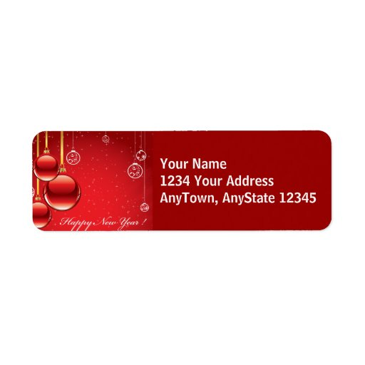 Merry Christmas Red Ornaments & Ribbons Template Custom Return Address Labels