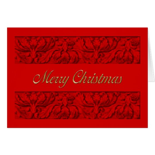 Merry Christmas Red Ornate Border Holiday Card