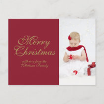 Merry Christmas Red Personalized Photo Holiday Postcard