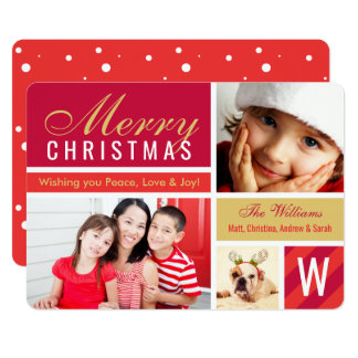 Merry Christmas | Red Photo Card Collage